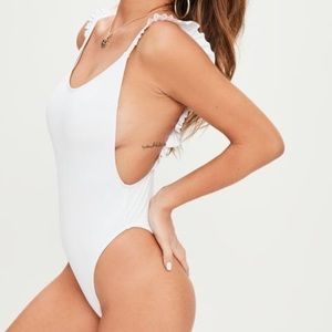 Misguided White Frill Shoulder Swimsuit